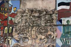 მოზაიკა მიტოვებული ქარხანის ფასადზე ზაჰესში