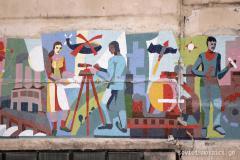 მოზაიკა ყოფილი საწყობის შენობაზე რკინიგზასთან